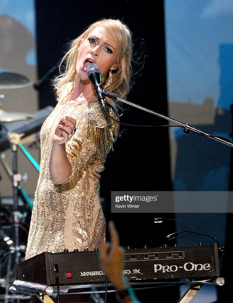 Singer Emily Haines of Metric performs onstage during 'VH1 Divas' 2012 at The Shrine Auditorium on December 16, 2012 in Los Angeles, California.