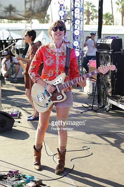 Singer Emily Kokal of the band Warpaint performs during Day 1 of the Coachella Valley Music Arts Festival 2011 held at the Empire Polo Club on April...