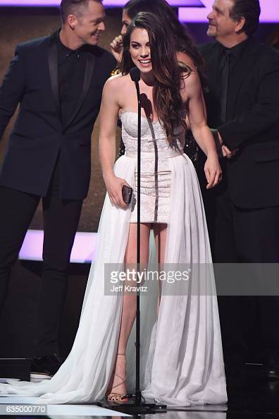 Singer Emily Weisband accepts the award for Best Contemporary Christian Music Performance/Song for 'Thy Will' onstage at the Premiere Ceremony during...