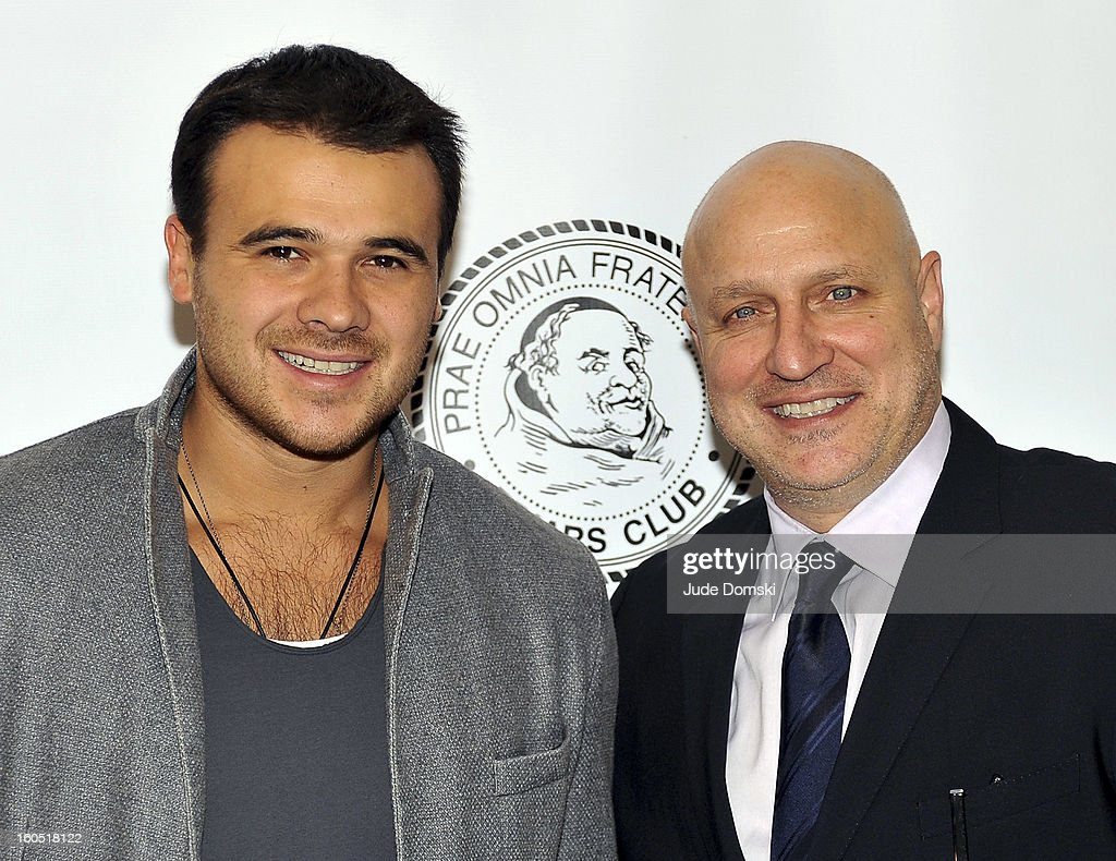 Singer Emin Agalarov and 'Top Chef' host <a gi-track='captionPersonalityLinkClicked' href=/galleries/search?phrase=Tom+Colicchio&family=editorial&specificpeople=4167072 ng-click='$event.stopPropagation()'>Tom Colicchio</a> attend The Friars Club Presents: Do You Think You Can Roast?! Padma Lakshmi at New York Friars Club on February 1, 2013 in New York City.