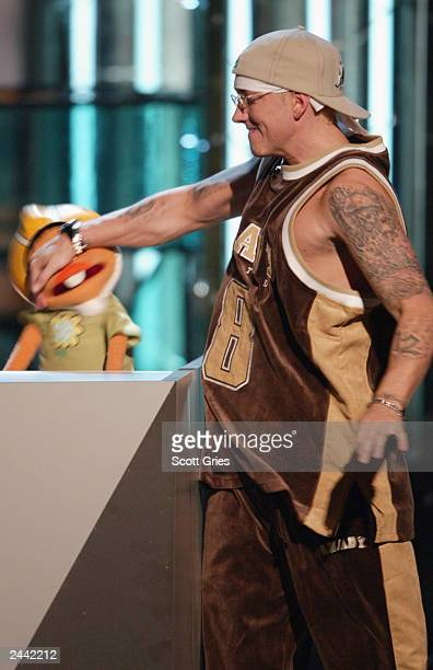 Singer Eminem speaks onstage during the 2003 MTV Video Music Awards at Radio City Music Hall on August 28 2003 in New York City