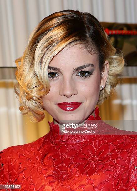 Singer Emma Marrone attends Valentino Cocktail Party as part of Milan Fashion Week Menswear Autumn/Winter 2013 on January 12 2013 in Milan Italy