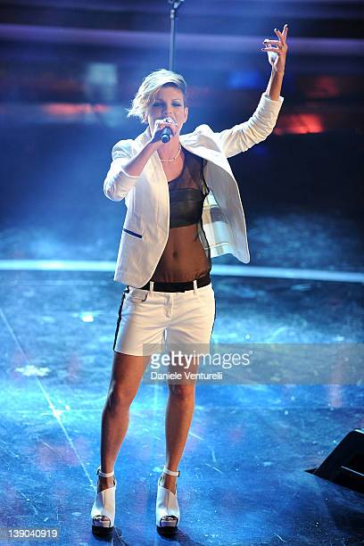 Singer Emma Marrone performs on stage at the second day of the 62th Sanremo Song Festival at the Ariston Theatre on February 15 2012 in San Remo Italy