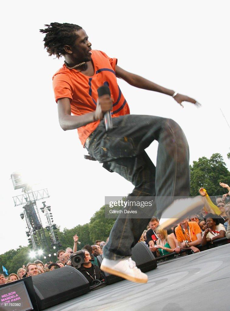 Singer Emmanuel Jal onstage during the 46664 Concert In Celebration Of Nelson Mandela's Life held at Hyde Park on June 27, 2008 in London, England.