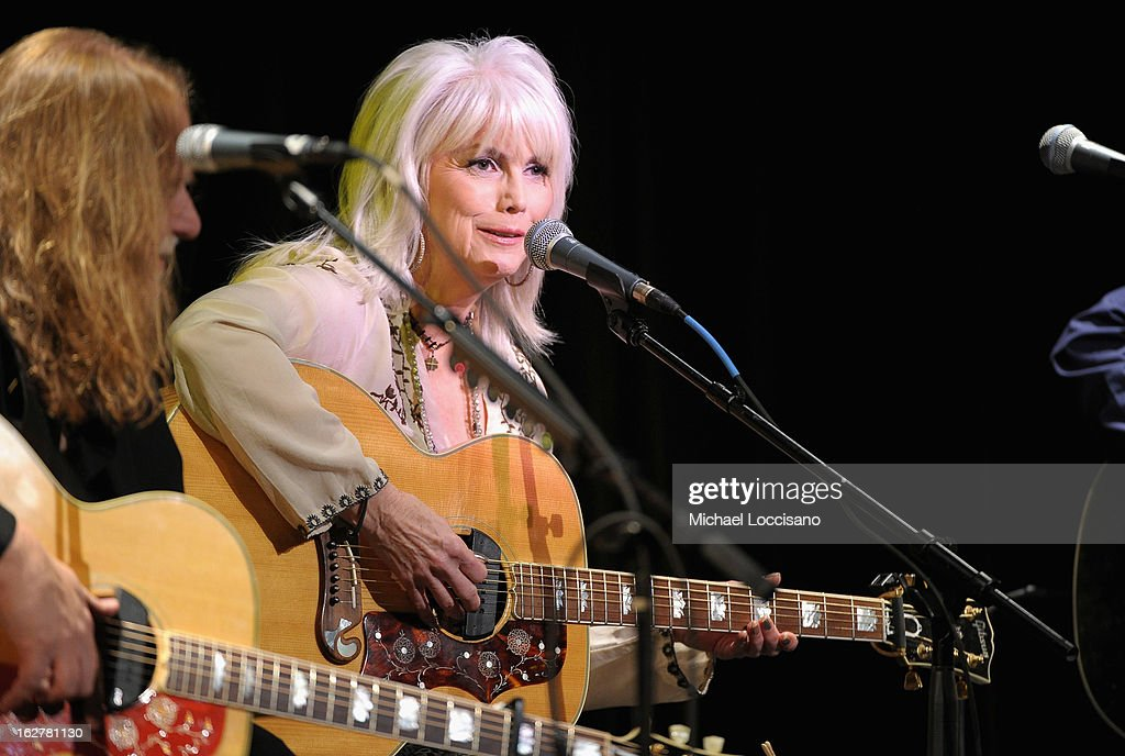 Singer <a gi-track='captionPersonalityLinkClicked' href=/galleries/search?phrase=Emmylou+Harris&family=editorial&specificpeople=240263 ng-click='$event.stopPropagation()'>Emmylou Harris</a> performs during the All For the Hall New York concert benefiting the Country Music Hall of Fame at Best Buy Theater on February 26, 2013 in New York City.