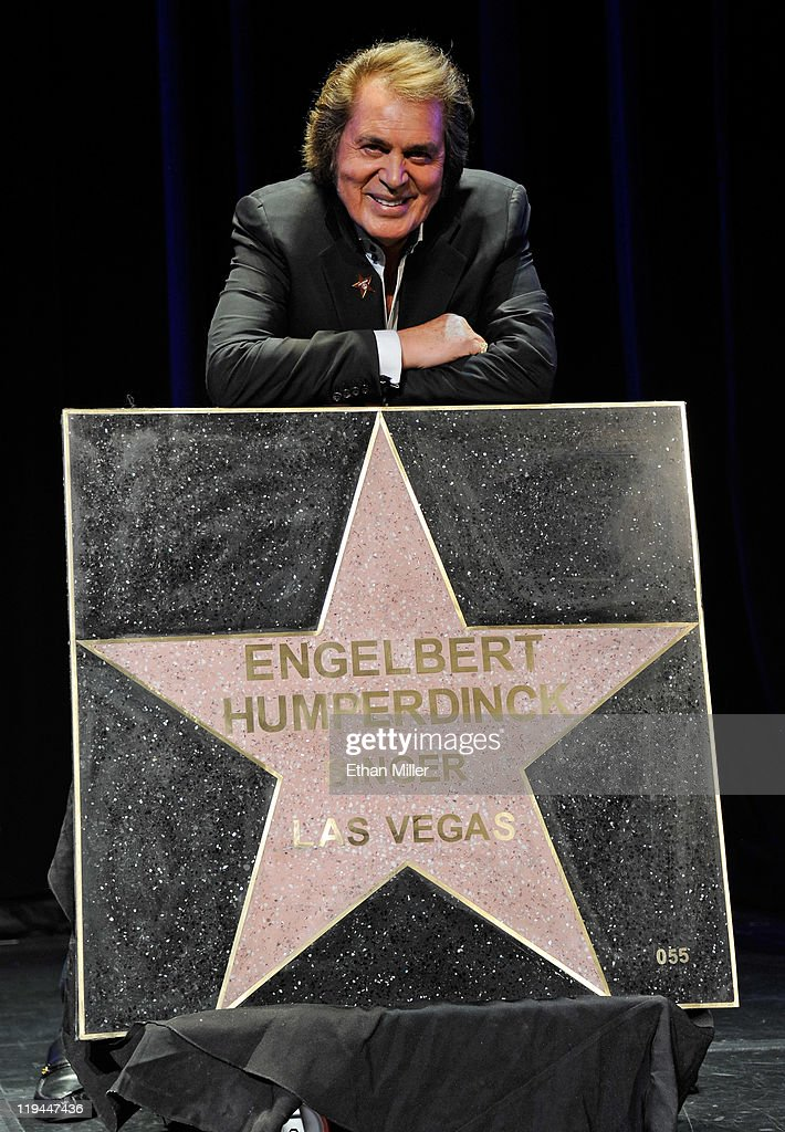 Singer <a gi-track='captionPersonalityLinkClicked' href=/galleries/search?phrase=Engelbert+Humperdinck+-+Singer&family=editorial&specificpeople=239022 ng-click='$event.stopPropagation()'>Engelbert Humperdinck</a> appears with his star at the Paris Las Vegas during his Las Vegas Walk of Stars dedication ceremony July 20, 2011 in Las Vegas, Nevada. The star will be placed outside the resort on July 21.