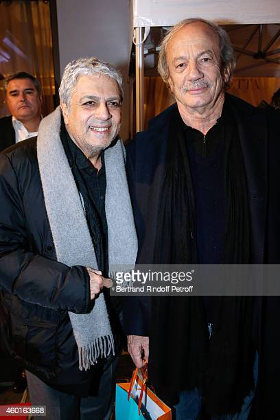 Singer Enrico Macias and actor Patrick Chesnais attend the Sarah Guetta Party in Paris for the first anniversary of the Hairdressing salon Sarah...