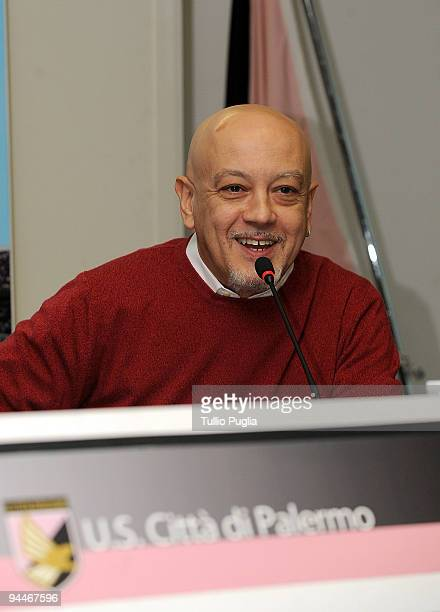 Singer Enrico Ruggeri attends the presentation of the charity match 'Insieme Per Messina' at Renzo Barbera stadium on December 15 2009 in Palermo...
