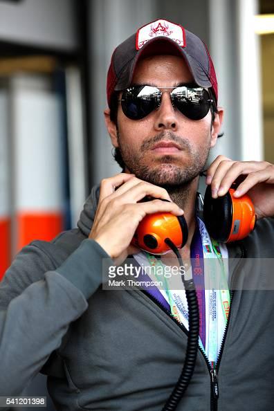 Singer Enrique Iglesias in the Pitlane before the European Formula One Grand Prix at Baku City Circuit on June 19 2016 in Baku Azerbaijan