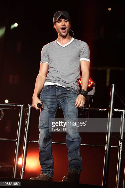 Singer Enrique Iglesias performs during the Enrique Iglesias 2011 'Euphoria' tour at the Prudential Center on September 24 2011 in Newark New Jersey