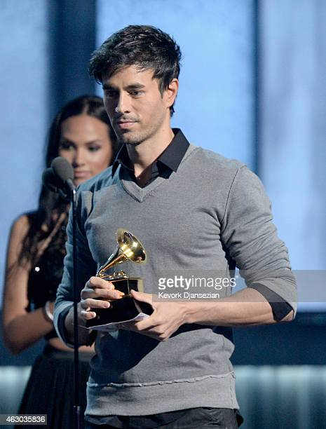 Singer Enrique Iglesias speaks onstage during The 57th Annual GRAMMY Awards at the at the STAPLES Center on February 8 2015 in Los Angeles California