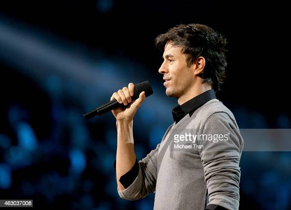 Singer Enrique Iglesias speaks onstage during The 57th Annual GRAMMY Awards at STAPLES Center on February 8 2015 in Los Angeles California