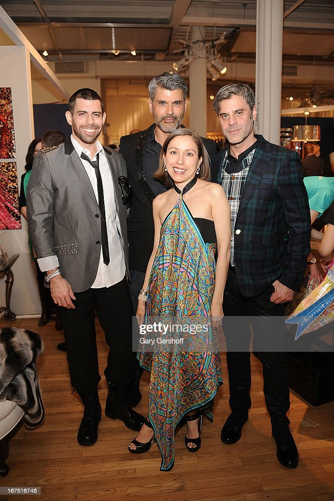 Singer Eric Alan, actor/model Mike Ruiz, designer Marisol Deluna and Martin Berusch attend Housing Works 9th Annual Design On A Dime Benefit at Metropolitan Pavilion on April 25, 2013 in New York City.