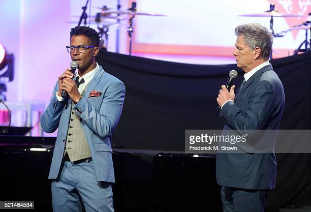 Singer Eric Benet and musician David Foster perform onstage during the 23rd Annual Race To Erase MS Gala at The Beverly Hilton Hotel on April 15 2016...