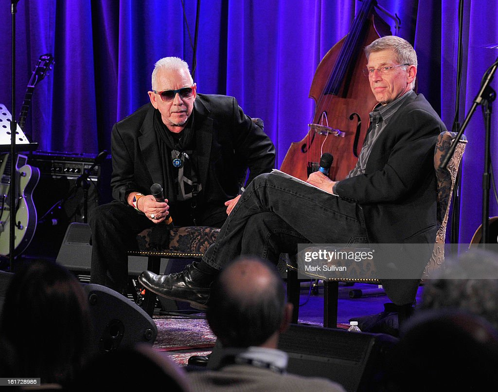 Singer <a gi-track='captionPersonalityLinkClicked' href=/galleries/search?phrase=Eric+Burdon&family=editorial&specificpeople=224514 ng-click='$event.stopPropagation()'>Eric Burdon</a> (L) and GRAMMY Museum executive director Bob Santelli onstage during An Evening With <a gi-track='captionPersonalityLinkClicked' href=/galleries/search?phrase=Eric+Burdon&family=editorial&specificpeople=224514 ng-click='$event.stopPropagation()'>Eric Burdon</a> at The GRAMMY Museum on February 14, 2013 in Los Angeles, California.