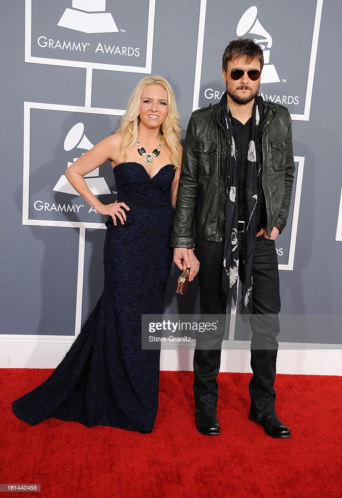 Singer Eric Church (R) and Katherine Blasingam attend the 55th Annual GRAMMY Awards at STAPLES Center on February 10, 2013 in Los Angeles, California.