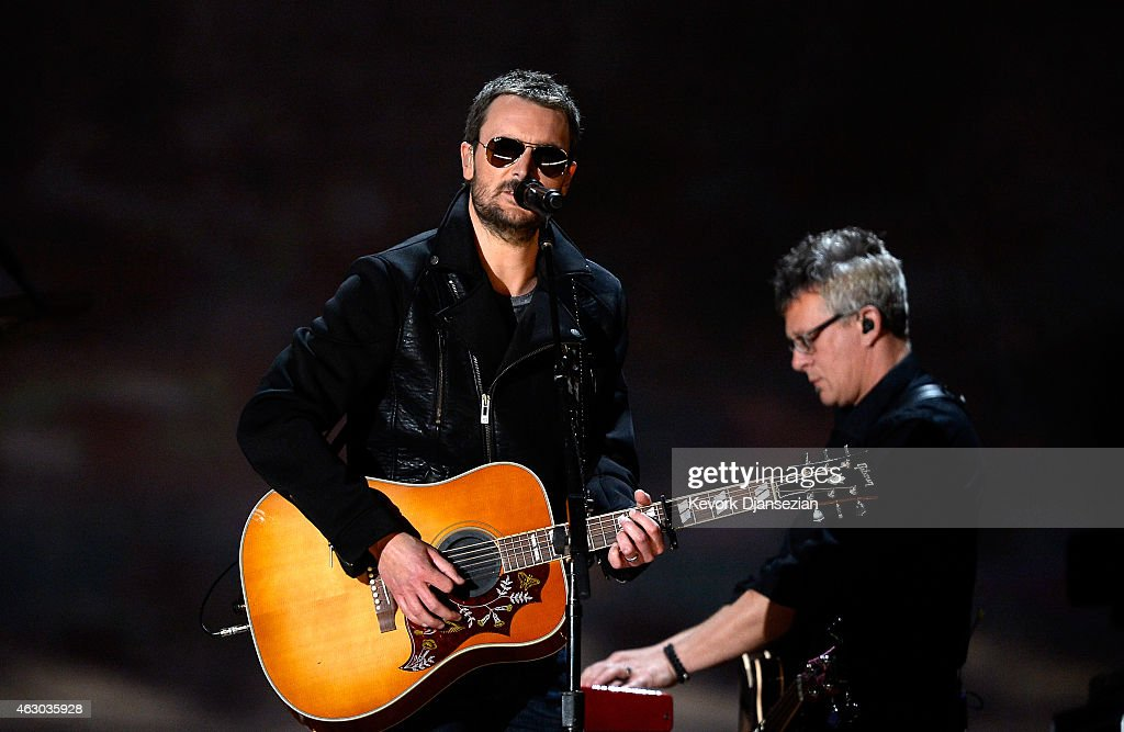Singer Eric Church performs 'Give Me Back My Hometown' onstage during The 57th Annual GRAMMY Awards at the at the STAPLES Center on February 8 2015...