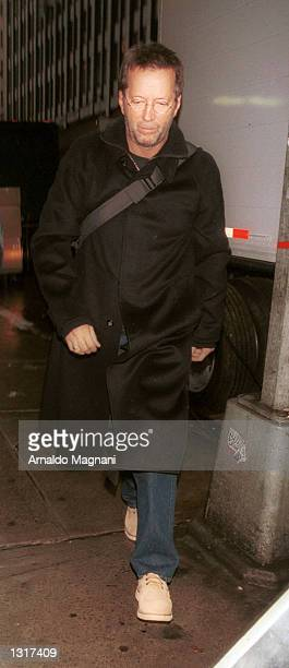 Singer Eric Clapton arrives at a gala concert to benefit the Wyclef Jean Foundation January 19 2001 at Carnegie Hall in New York City