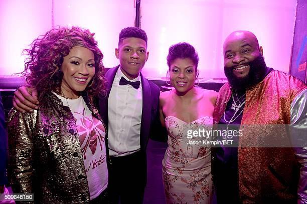 Singer Erica Campbell actor/singer Bryshere Y Gray host Taraji P Henson and singer LaShawn Daniels aka Big Shiz attend BET Celebration Of Gospel 2016...
