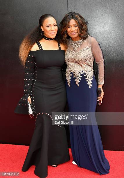 Singer Erica Campbell and Cheryl Jackson arrive at the 32nd annual Stellar Gospel Music Awards at the Orleans Arena on March 25 2017 in Las Vegas...
