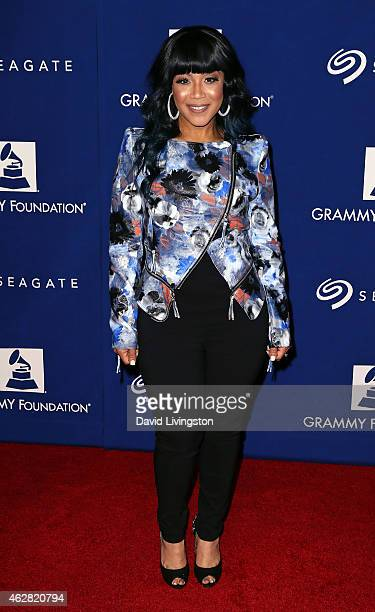 Singer Erica Campbell attends the 57th Annual GRAMMY Awards' 17th Annual GRAMMY Foundation Legacy Concert at the Wilshire Ebell Theatre on February 5...