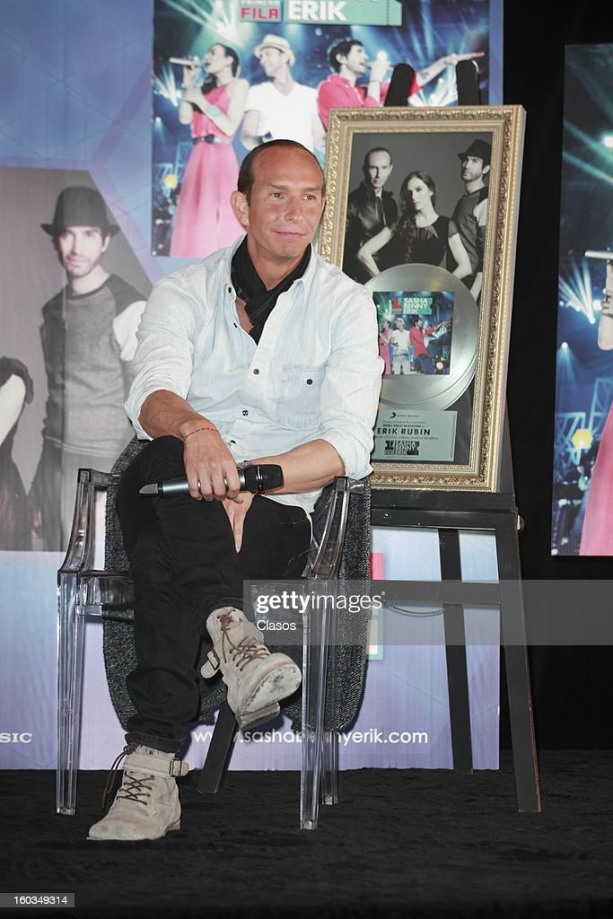 Singer Erik looks on during the press conference in which they were awarded with a platinum disc at Presidente Intercontinental Hotel on January 29, 2013 in Mexico City, Mexico.
