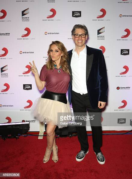 Singer Erika Zaba of Latin pop group OV7 and President of Sony Music US Latin Nir Seroussi attend Sony Music's Latin Grammy after party at XS The...