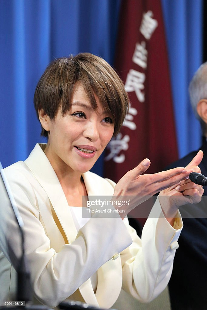 Singer Eriko Imai speaks with finger language during a press conference announcing her candidacy for the upper house election at the ruling Liberal Democratic Party headquarters on February 8, 2016 in Tokyo, Japan.