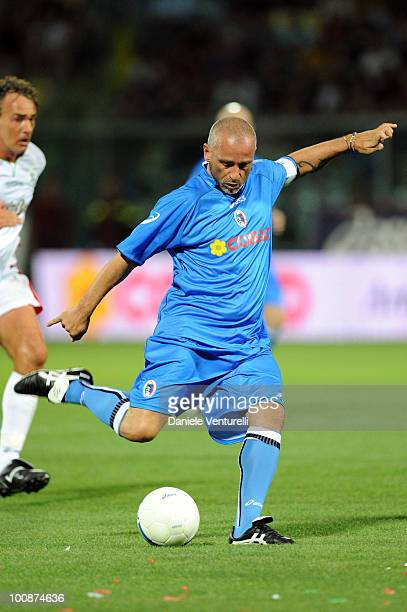 Singer Eros Ramazzotti of Nazionale Cantanti in action during the XIX Partita Del Cuore charity football game at on May 25 2010 in Modena Italy