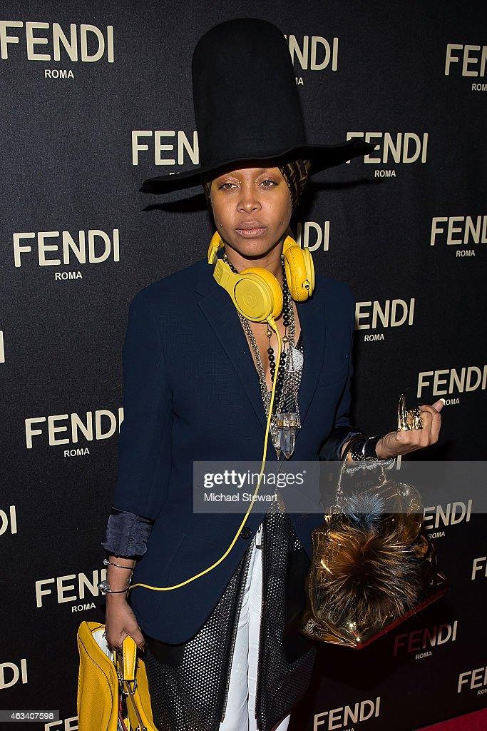 Singer Erykah Badu attends Fendi New York Flagship Boutique Inauguration Party during MercedesBenz Fashion Week at Fendi Madison Avenue on February...