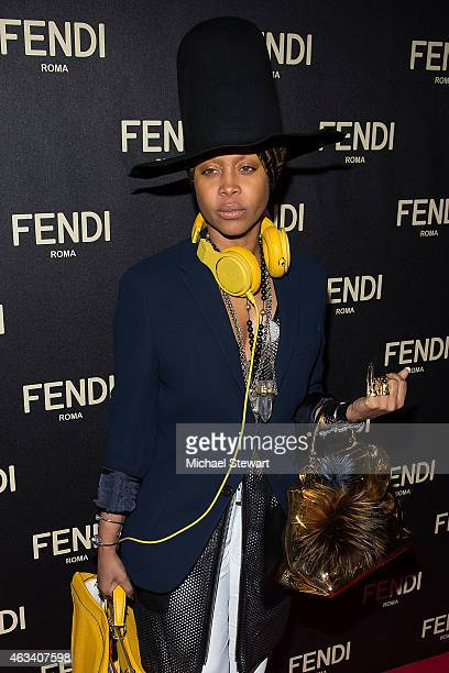 Singer Erykah Badu attends Fendi New York Flagship Boutique Inauguration Party during MercedesBenz Fashion Week at Fendi Madison Avenue on February...
