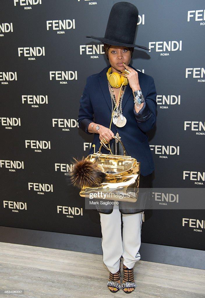 Singer Erykah Badu attends the Fendi Flagship Store Opening Celebration Dinner at the Park Hyatt New York on February 13 2015 in New York City