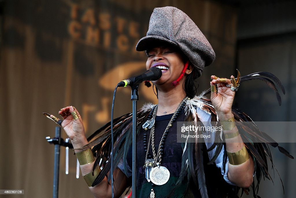 Singer Erykah Badu performs at the Petrillo Music Shell during the 35th Annual 'Taste Of Chicago' on July 09 2015 in Chicago Illinois