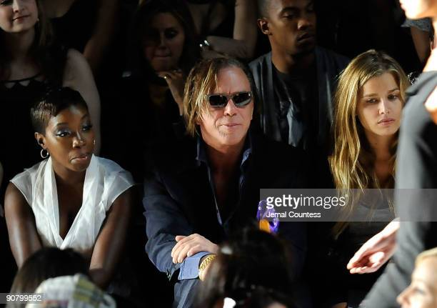 Singer Estele actor Mickey Rourke and model Cheyenne Tozzi attends the Max Azria Spring 2010 Fashion Show during MercedesBenz Fashion Week at Bryant...