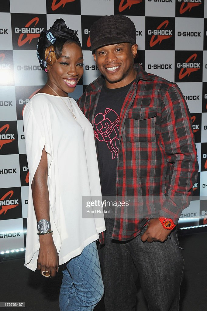 Singer Estelle (L) and Sway attend G-Shock Shock The World 2013 at Basketball City on August 7, 2013 in New York City.