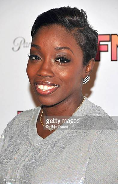 Singer Estelle arrives at the Friends And Family GRAMMY Event at Paramount Studios on January 29 2010 in Los Angeles California