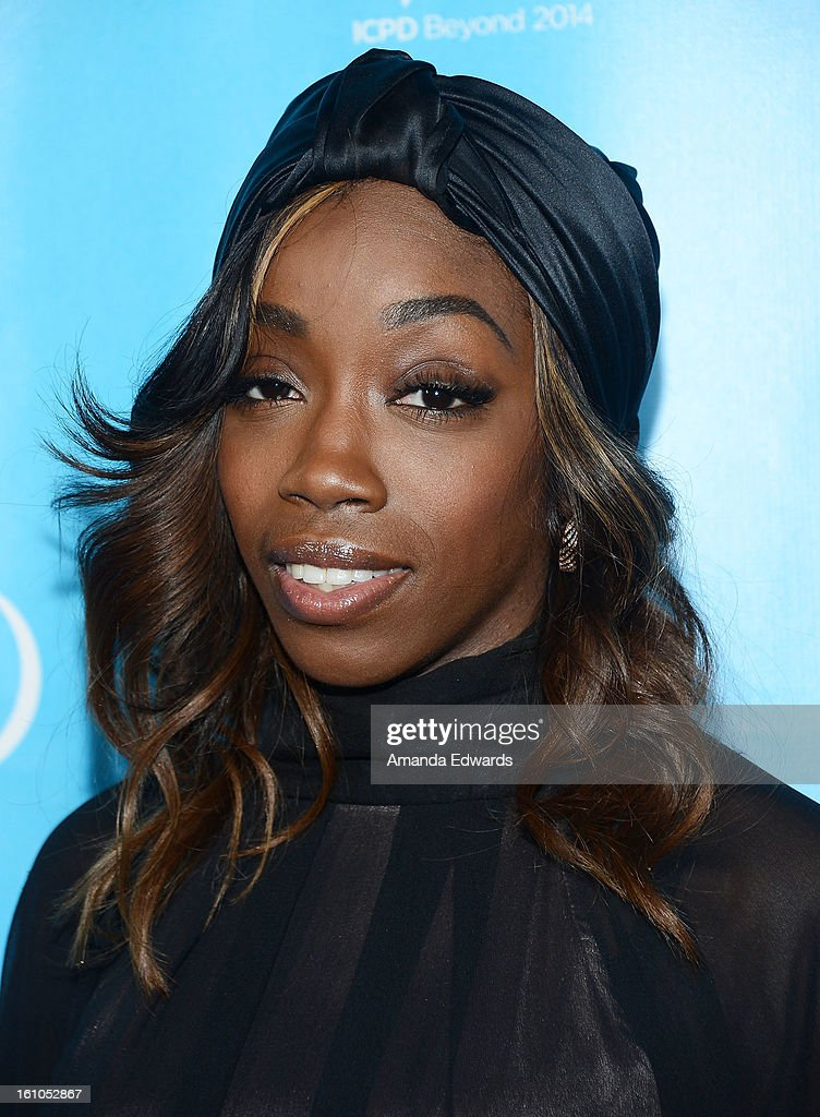 Singer Estelle arrives at the United Nations Foundation's 'mPowering Action' Innovative Mobile Platform launch party at The Conga Room at L.A. Live on February 8, 2013 in Los Angeles, California.