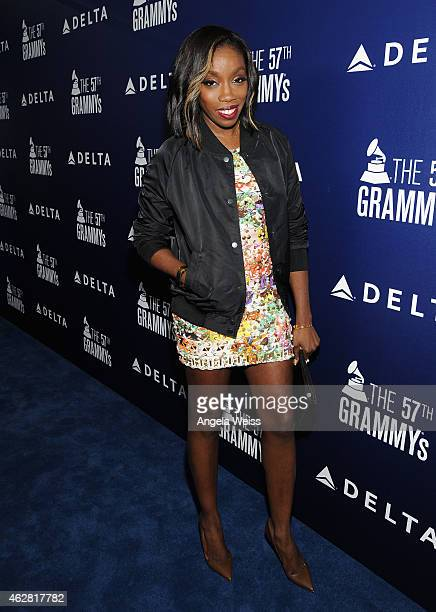 Singer Estelle attends a celebration of the 57th annual GRAMMY Awards hosted by Delta Air Lines the official airline of the GRAMMY Awards with a...