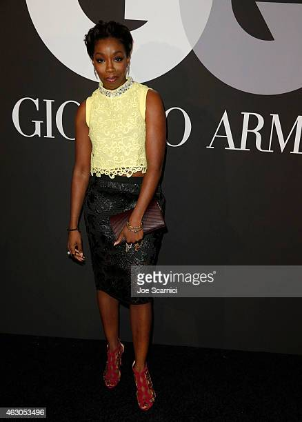 Singer Estelle attends GQ And Giorgio Armani Grammys After Party at Hollywood Athletic Club on February 8 2015 in Hollywood California