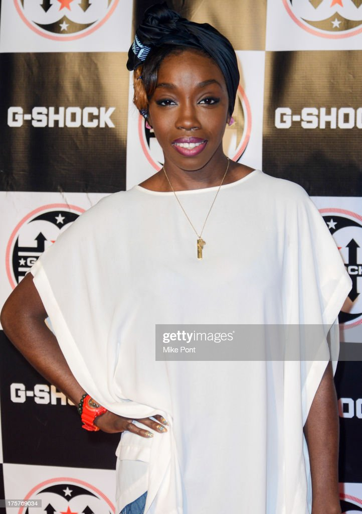 Singer <a gi-track='captionPersonalityLinkClicked' href=/galleries/search?phrase=Estelle+-+Singer&family=editorial&specificpeople=206205 ng-click='$event.stopPropagation()'>Estelle</a> attends G-Shock - Shock The World 2013 at Basketball City - Pier 36 - South Street on August 7, 2013 in New York City.