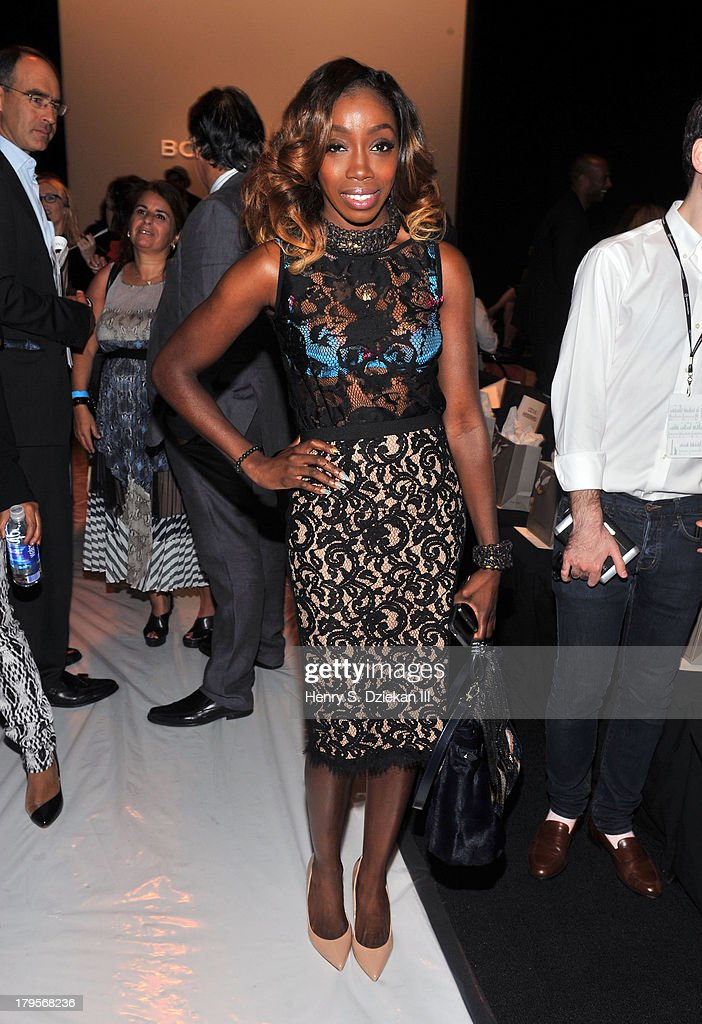 Singer Estelle attends the BCBGMAXAZRIA show during Spring 2014 Mercedes-Benz Fashion Week at The Theatre at Lincoln Center on September 5, 2013 in New York City.