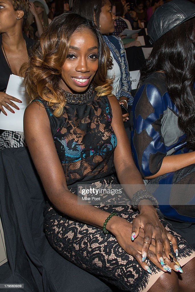 Singer Estelle attends the BCBGMAXAZRIA Spring 2014 fashion show at The Theatre Lincoln Center on September 5, 2013 in New York City.