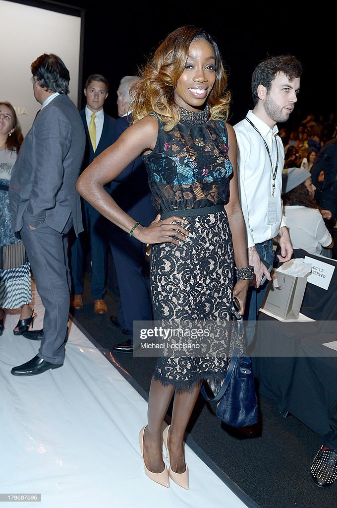 Singer Estelle attends the BCBGMAXAZRIA Spring 2014 fashion show during Mercedes-Benz Fashion Week at The Theatre at Lincoln Center on September 5, 2013 in New York City.