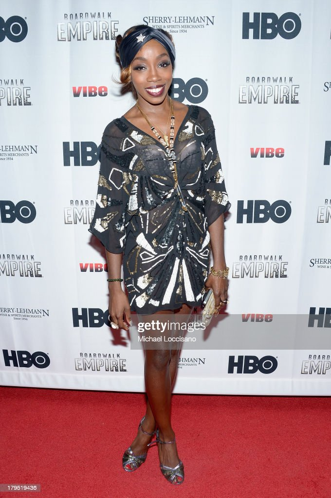 Singer Estelle attends the HBO Boardwalk Empire Fashion Fete with June Ambrose at Houston Hall on September 4, 2013 in New York City.
