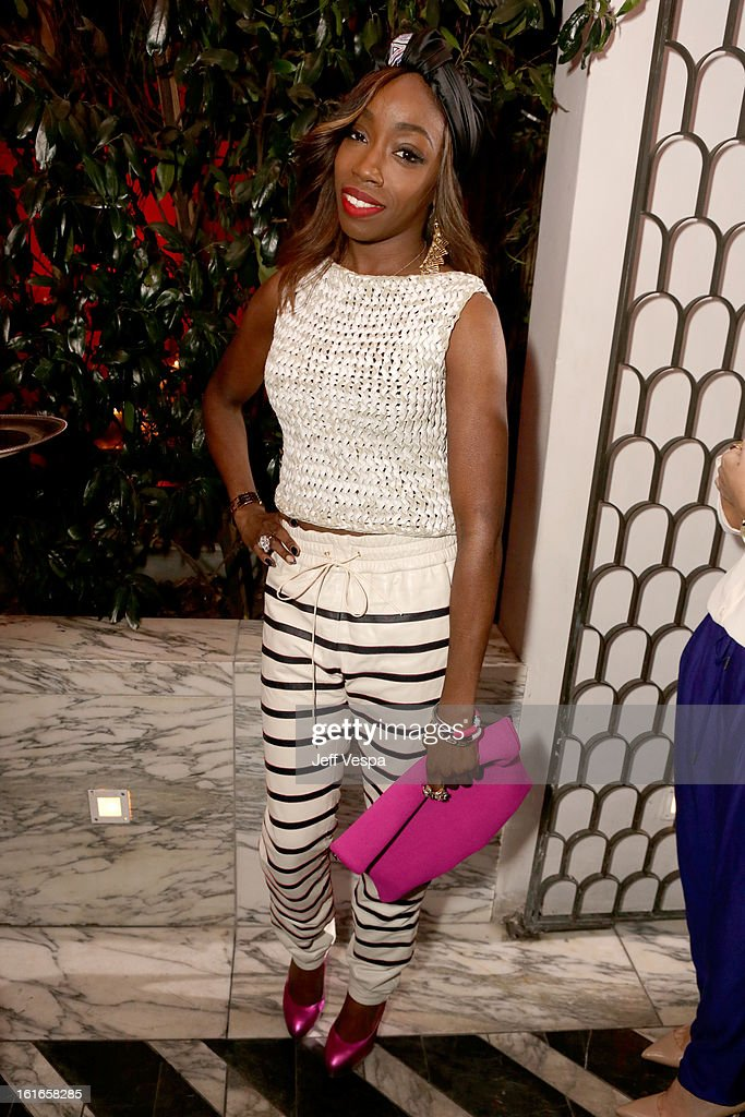 Singer Estelle attends the Topshop Topman LA Opening Party at Cecconi's West Hollywood on February 13, 2013 in Los Angeles, California.