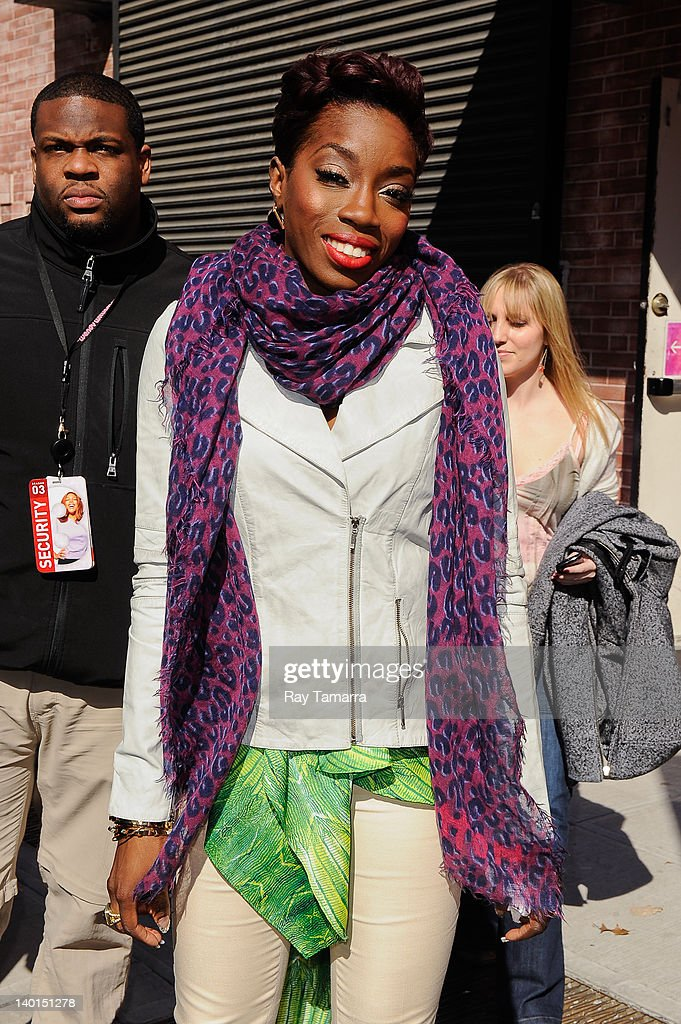 Singer Estelle leaves the 'Wendy Williams Show' taping at the AMV Studios on February 28, 2012 in New York City.