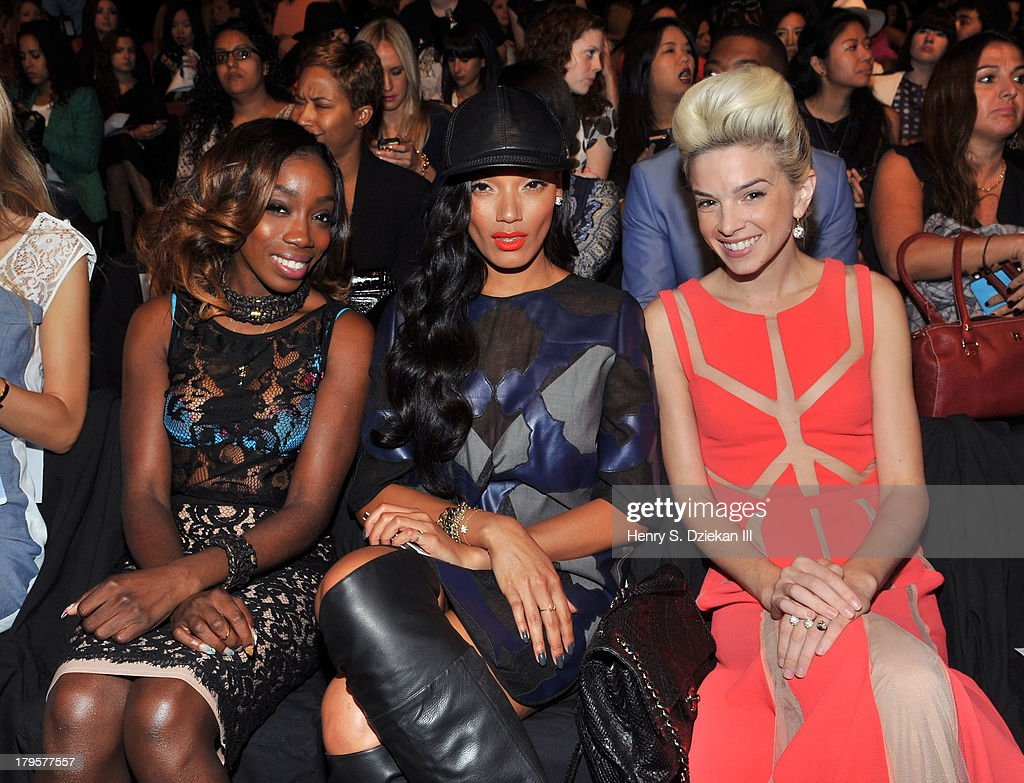 Singer Estelle, model <a gi-track='captionPersonalityLinkClicked' href=/galleries/search?phrase=Selita+Ebanks&family=editorial&specificpeople=619483 ng-click='$event.stopPropagation()'>Selita Ebanks</a> and singer Lauriana Mae attend the BCBGMAXAZRIA show during Spring 2014 Mercedes-Benz Fashion Week at The Theatre at Lincoln Center on September 5, 2013 in New York City.