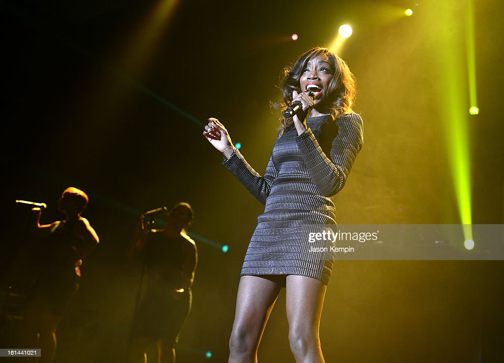 Singer Estelle performs at the 55th Annual GRAMMY Awards after party at the Los Angeles Convention Center on February 10, 2013 in Los Angeles, California.