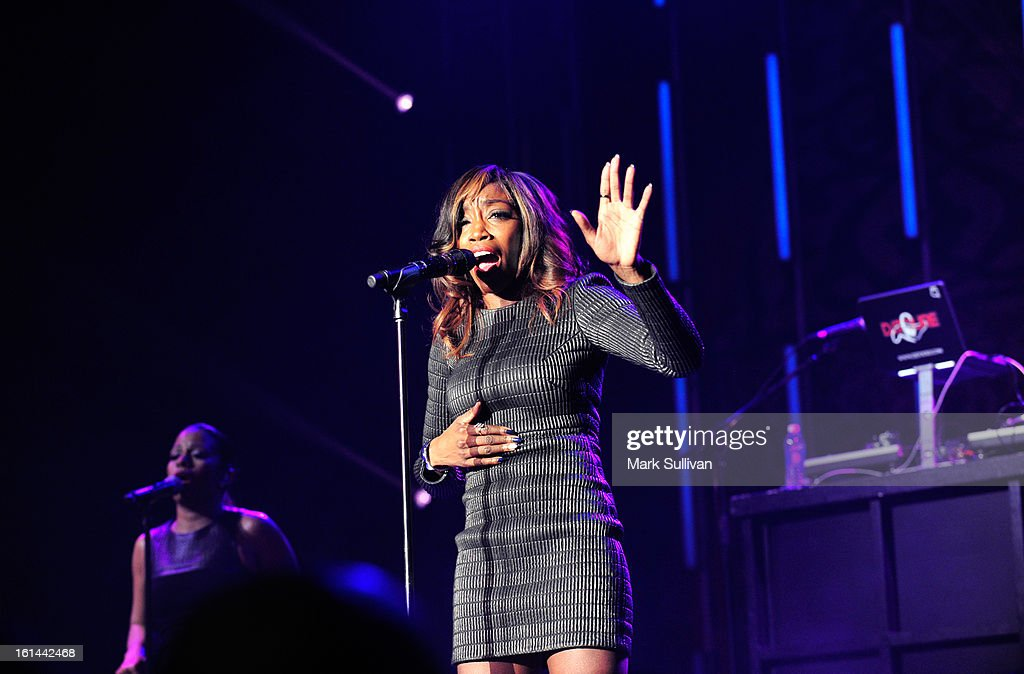 Singer Estelle performs at the 55th Annual GRAMMY Awards at the Los Angeles Convention Center on February 10, 2013 in Los Angeles, California.