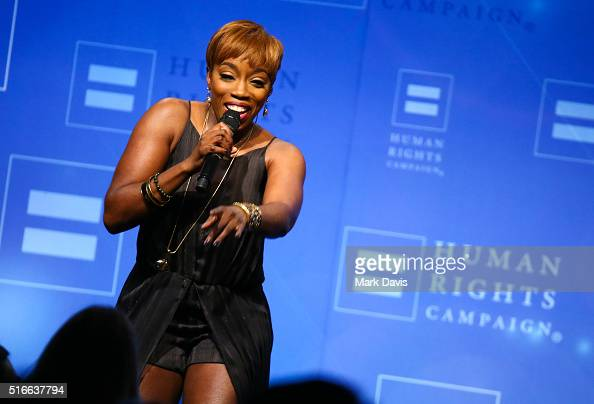 Singer Estelle performs at the 'Human Rights Campaign 2016 Los Angeles Gala' held at the JW Marriott Los Angeles at LA LIVE on March 19 2016 in Los...